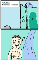 Turkulainen suihkussa.