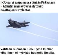 F-35 piiputtaa sateella.