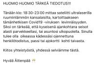 TÄRKEÄ TIEDOTUS COVID-19